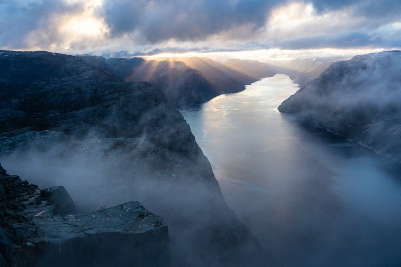 Morning Preikestolen with mist coming up from the Lysefjord