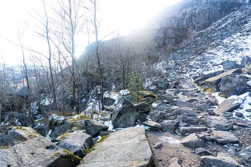 Preikestolen hike with snow in Norway