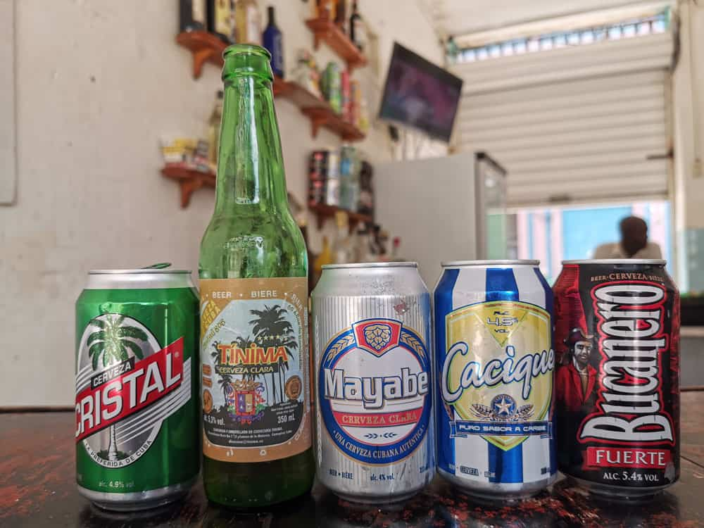 Some of most common beers in Havana Cuba