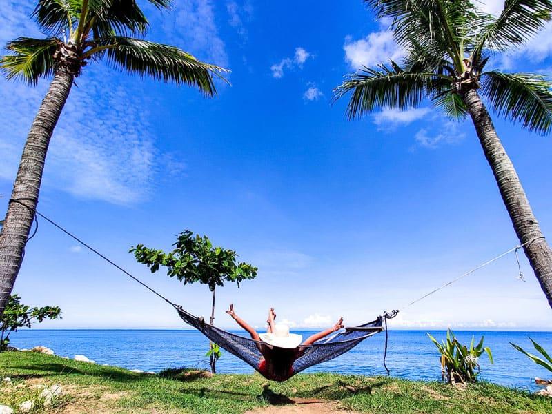 Relaxing in a hammock in Fiji