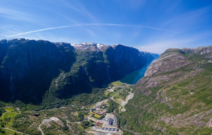 Panoramic view over Lysebotn norway