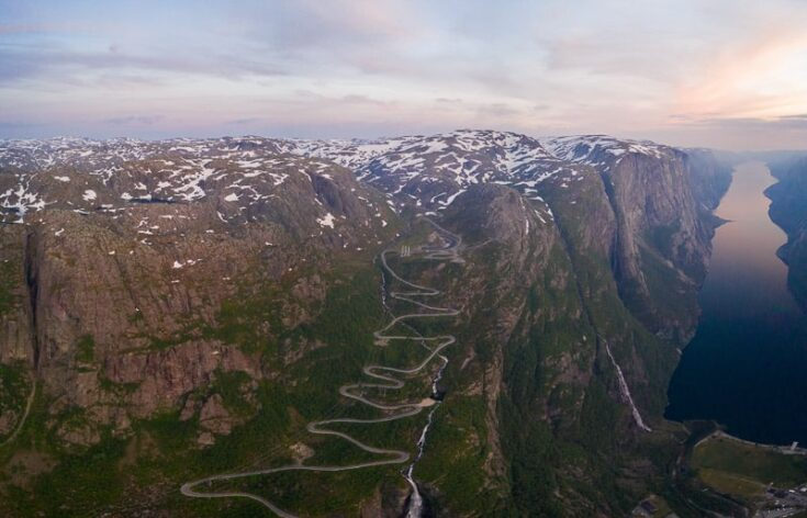 Lysevegen, one of Norway's steepest roads with 27 hairpin bends