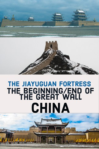 Within the Gansu province of northwestern, China lies the Jiayuguan Fortress. It creates either the beginning or the end of the Great Wall (depending on which direction you started from).