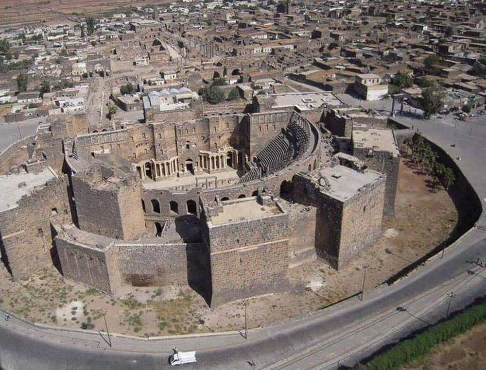 Busra Roman Ruins from above in syria