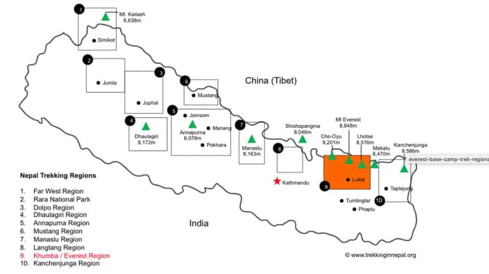 trekking nepal map