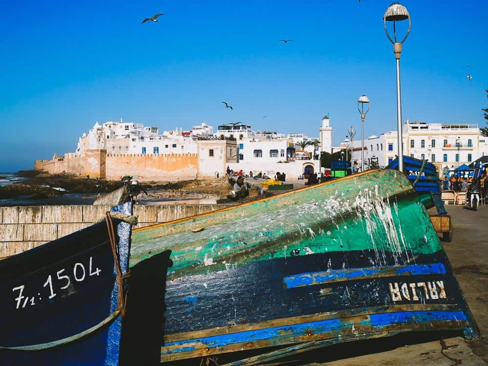 Morocco Essaouira-old-town-from-fishing-port