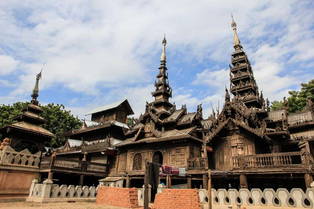 wooden temple bagan myanmar