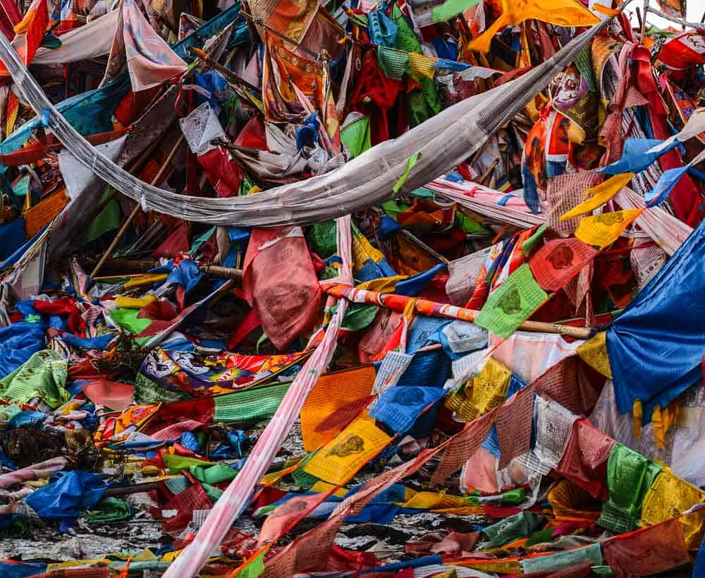Tibetan prayer flags Sichuan China