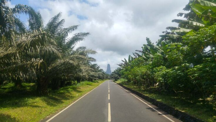 """the Volcanic tower known as Pico Cao Grande 668m (2,192 ft)or """"Great Dog Peak"""" sao tome"""
