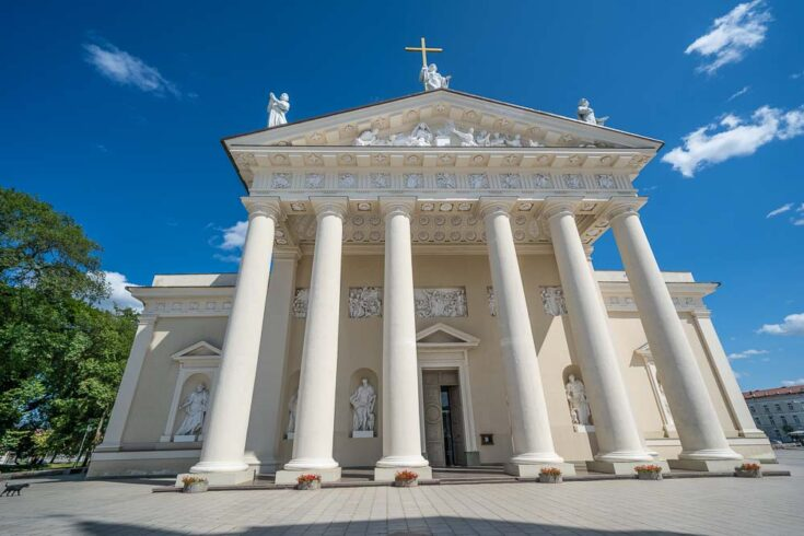 The entrance to Vilnius Cathedral from the front