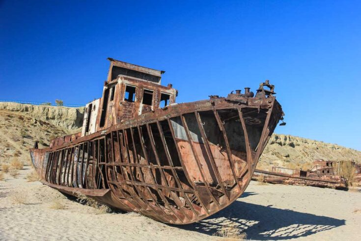 Old boat remains from where the Aral Sea in Uzbekistan used to be