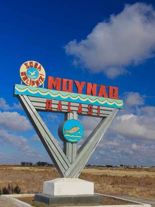 Moynaq sign the aral sea uzbekistan